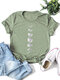 Moon Print Short Sleeve O-neck Loose Casual T-Shirt For Women - Olive Green