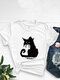 T-shirt O-Collo manica corta stampata gatto dei cartoni animati per le donne - bianca