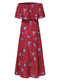 Bohemia Print Off The shoulder Plus Size Summer Dress - Red