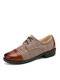 Men British Style Cap Toe Comfy Lace Up Formal Dress Shoes - Brown