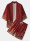 Mens Japanese Waves Print Open Front Kimono Two Pieces Outfits - Red