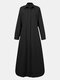 Solid Color Button Long Sleeve Casual Dress for Women - Black