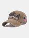 ユニセックスコットンメイクオールドホールレター刺繡デジタルパッチサンシェードベースボールキャップ - カーキ