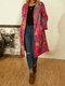 女性のための花柄プリント長袖ターンダウンカラーコート - ローズ