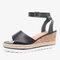 Women Slip Resistant Buckle Strsap Casual Platform Wedges Sandals - Black