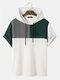T-shirts à capuche ample à manches courtes et patchwork de blocs de couleurs en tricot gaufré pour hommes - Vert foncé