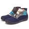 SOCOFY Retro Pattern Cloth Splicing Metal Buckle Zipper Soft Flat Boots - Dark Blue