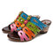 SOCOFY Genuine Leather Splicing Colorful Stripes Floral Pattern Retro Gems Comfortable Sandals