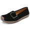 Women Metal Suede Slip On Flat Loafers Casual Solid Color Boat Shoes