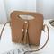 Women Mini PU Crossbody Bags Tassel Phone Bags - Brown