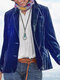 Casual Solid Color Button Plus Size Blazer Jackets - Blue