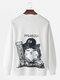 Mens Solid Color Cartoon Cat Back Print Loose Crew Neck Sweatshirts - White
