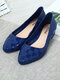 Women Casual Jelly Pointed Toe Gingham Block Heels Loafers - Blue