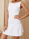 Solid Backless Sleeveless O-neck Folds Sexy Dress for Women - White