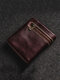 Men Retro Genuine Leather Money Clip Card Case Wallet - Red