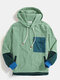 Mens Vintage Patchwork Corduroy Drawstring Hoodies With Flap Pocket - Green