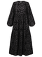 Print O-neck Puff Sleeve Plus Size Casual Dress for Women - Black