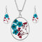 Vintage Natural Dried Flower Necklace Earring Set Resin Daisy Necklace Geometric Water Drop Earrings - Blue