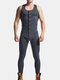 Men Plain Onesies Pajamas Sleeveless Back Open Hooded Breathable Sports Casual Buttons Down Jumpsuit - Gray