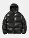 Mens Reflective Winter Warm Thicken Solid Hooded Down Coat - Black