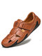 Menico Men Woven Style Hook Loop Hand Stitching Leather Sandals - Red Brown