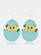 Easter Cute Bunny Print Earrings Leather Stitching Drop Earrings - #10