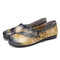 SOCOFY Genuine Leather Print Veins Slip On Soft Flat Loafers Casual Vintage shoes - Coffee