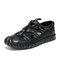 Men Closed Toe Mesh Splicing Outdoor Microfiber Leather Sandals - Black
