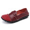 Large Size Women Splicing Leather Casual Hook Loop Soft Flat Loafers - Red