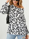 Leopard Print O-neck Long Sleeve Casual T-Shirt For Women - White
