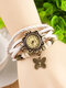 10 Colors Vintage Multilayer Women Watch Leather Band Butterfly Pendant Bracelet Watch - White