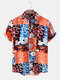 Men Thin & Breathable Cotton Floral Patchwork Lapel Holiday Casual Shirt - Orange