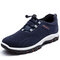 Men Synthetic Suede Slip Resistant Elastic Lace Casual Hiking Sneakers - Blue