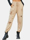 Solid Color Drawstring Pocket Ripped Long Casual Pants for Women - Khaki