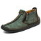 Men Hand Stitching Leather Non Slip Side Zipper Casual Boots - Green