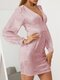 Women Solid Color Patchwork Button Lantern Sleeves Casual Dress - Pink
