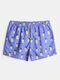 Mens Cartoon Pineapple Pattern Board Shorts Liner Swim Trunk - Purple