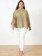 Solid Color High Neck Lantern Sleeve Plus Size Blouse for Women - Khaki
