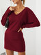 Solid Color Dolman Long Sleeve V-neck Casual Dress For Women - Wine Red