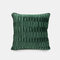 Solid Color Sofa Pillow Geometric Fold Flannel Piping Cushion Cover Living Room Bedside Backrest - Green