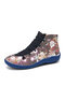Women Funny Christmas Cartoon Pattern Printing Lace Up Flat Short Boots - Blue