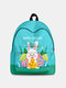 Women Cute Rabbit Colorful Eggs Happy Easter Polyester Bag Large Capacity Backpack - 7