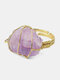 Vintage Gold-plated Winding Natural Irregular Crystal Opening Adjustable Alloy Ring - Purple