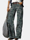 Camouflage Print Casual Denim Jeans With Pocket For Women - Green