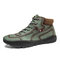 Men Hand Stitching Microfiber Leather Lace Up Ankle Boots - Green