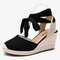 LOSTISY Women Wearable Ankle Lace Up Espadrilles Wedges Sandals - Black