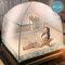 Moustiquaire à trois portes pour lit adulte Portable anti-moustique moustiquaire tente filet en maille - bleu