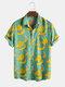 Mens Plus Size Funny Banana Cartoon Chest Pocket Short Sleeve Shirts - Green