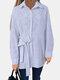 Bowknot Striped Print Long Sleeve Cotton Shirt For Women - White