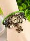 10 Colors Vintage Multilayer Women Watch Leather Band Butterfly Pendant Bracelet Watch - Green